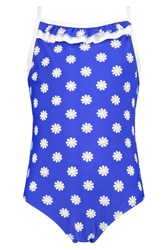 Boohoo Daisy Print Swimming Costume Blue