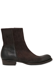 Buttero Waxed Leather Boots Dark Brown