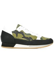 Philippe Model Contrast Panel Sneakers Green