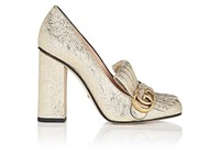 Gucci Women's Marmont Metallic Leather Pumps Gold Silver