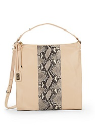 Badgley Mischka Taryn Snake Print Panel Leather Shoulder Hobo Bag Latte