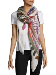 Franco Ferrari Danao Surfboard Silk And Modal Scarf Ivory Multi