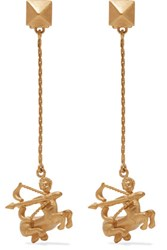 Valentino Sagittarius Gold Tone Clip Earrings One Size