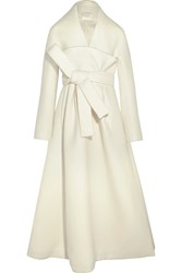 Delpozo Belted Wool And Mohair Blend Coat Ivory