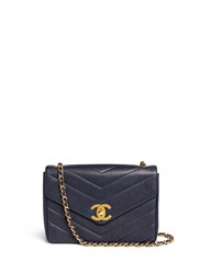 Wgaca Vintage Chanel Jumbo Chevron Quilted Caviar Leather Flap Bag Blue