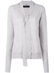 Piazza Sempione Neck Tie Jumper Grey