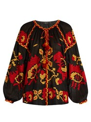 Vita Kin Poppy Embroidered Linen Blouse Black Red