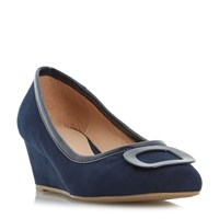 Linea Anex Brooch Detail Wedge Court Shoes Navy