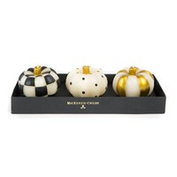 Mackenzie Childs Mini Pumpkin Candle Set Of 3 Black And Gold