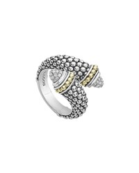 Lagos Signature Caviar Diamond Crossover Ring White Silver