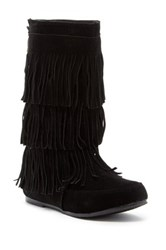 West Blvd Shoes Lima Faux Suede Fringe Trim Boot Black