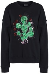 Just Cavalli Embellished Cotton Blend Terry Sweatshirt Black
