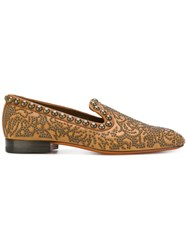 Santoni Studded Slippers Leather Rubber 37.5 Brown