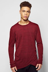Boohoo Sleeve Curved Front Hem Knitted T Shirt Wine