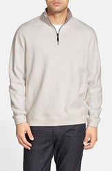 Tommy Bahama Men's Flip Side Reversible Quarter Zip Twill Pullover Winter White Heather