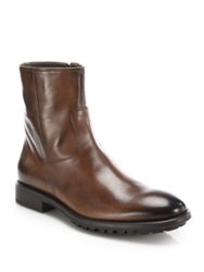 To Boot Harrison Leather Side Zip Boots Black Brown