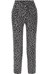 Equipment Hadley Leopard Print Washed Silk Straight Leg Pants Black