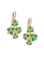 Temple St. Clair Cluster Trio Emerald Earrings Yellow Gold