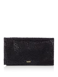 Biba Foldover Chain Strap Leather Clutch Black