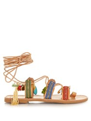 Elina Linardaki Frida Embellished Leather Flat Sandals Multi