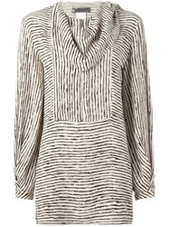 Sportmax Draped Neck Striped Blouse Nude Neutrals