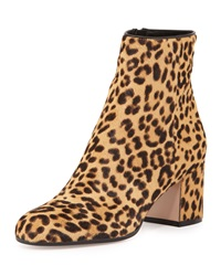 Gianvito Rossi Leopard Print Calf Hair Block Heel Ankle Boot