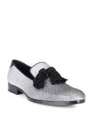 Jimmy Choo Degrade Fine Glitter Leather Loafers Black Silver