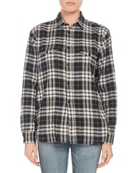Saint Laurent Button Down Long Sleeve Plaid Flannel Shirt Black White