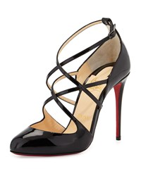Christian Louboutin Soustelissimo Strappy Red Sole Pump Black Women's