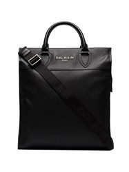 Balmain Black Oversized Leather Tote