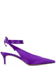 Attico Kitten Heel Slingback Pumps Purple