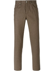 Ermenegildo Zegna Buttoned Fly Knit Trousers Brown