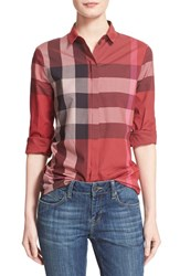 Women's Burberry Brit Large Check Cotton Shirt Berry Red