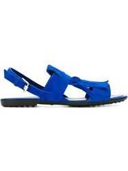Tod's Fringed Pleated Sling Back Sandals Blue