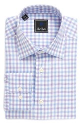 David Donahue Men's Regular Fit Check Dress Shirt Sky Lilac