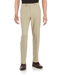 Dockers No Iron Slim Fit Flat Front Herringbone Dress Pant Khaki