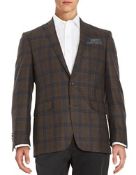 Tallia Orange Plaid Blazer Brown