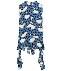 Marni Printed Silk Shirt Blue