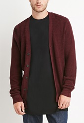 Forever 21 Marled Patch Sleeve Cardigan Heather Burgundy