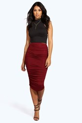 Boohoo Ruched Sides Jersey Midi Skirt Berry
