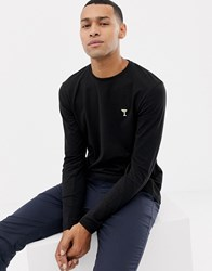Solid Long Sleeve Embroidered Logo Top In Black
