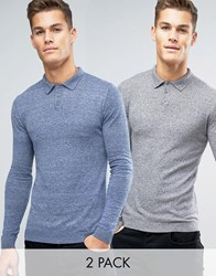 Asos Long Sleeve Knitted Polo Jumper In Muscle Fit 2 Pack Denim And Grey Marl Multi