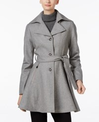 Inc International Concepts Belted Skirted Peacoat Only At Macy's Heather Grey