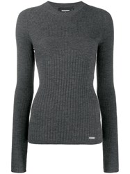 Dsquared2 Ribbed Knit Sweater Grey