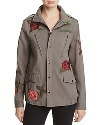 Honey Punch Rose Embroidered Military Jacket Army