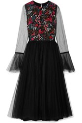 Carolina Herrera Embellished Stretch Tulle Midi Dress Black