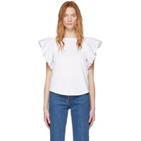 See By Chloe White Frill Sleeve T Shirt