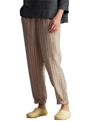 Toast Stripe Linen Trousers Cord Chambray Blue