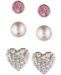 Lonna And Lilly Rose Gold Tone 3 Pc. Set Stud Earrings Pink