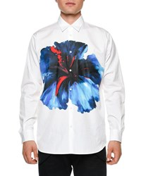 Dsquared Oversized Flower Print Long Sleeve Sport Shirt White